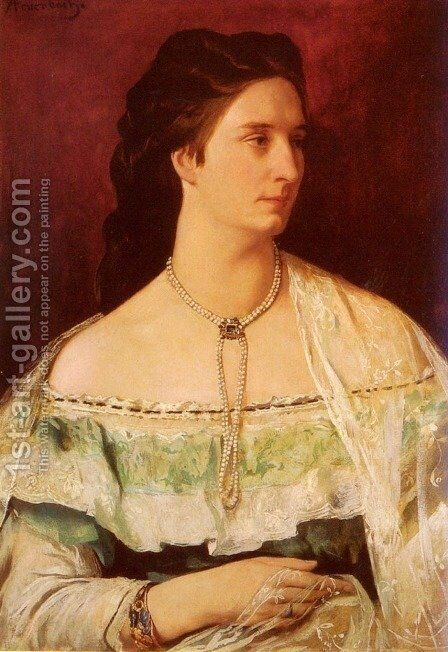 Portrait Of A Lady Wearing A Pearl Necklace by Anselm Friedrich Feuerbach - Reproduction Oil Painting