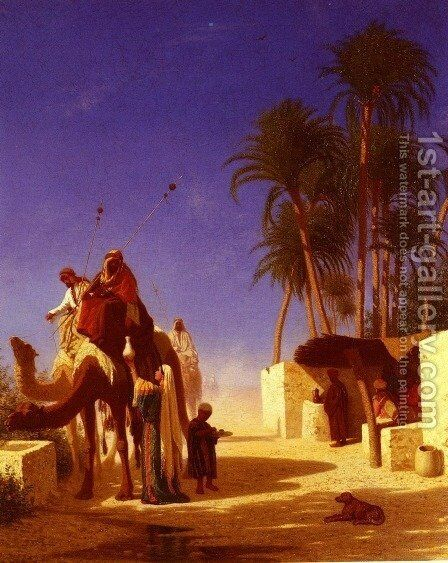 Les Chameliers Buvant Le The (Camel Drivers Drinking from the Wells) by Charles Théodore Frère - Reproduction Oil Painting