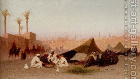 A late afternoon meal at an encampment, Cairo by Charles Théodore Frère - Reproduction Oil Painting