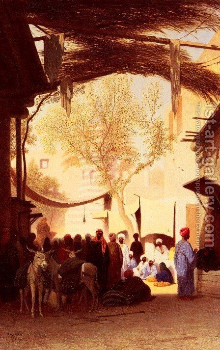 A Market Place, Cairo by Charles Théodore Frère - Reproduction Oil Painting