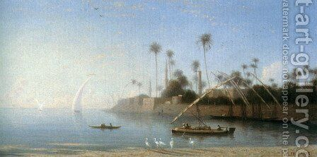 A view of Beni Souef, Egypt by Charles Théodore Frère - Reproduction Oil Painting