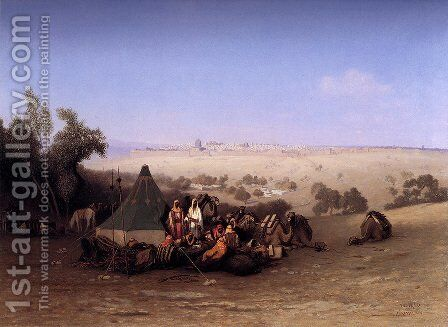 An Rab Encampment On The Mount Of Olives With Jerusalem Beyond by Charles Théodore Frère - Reproduction Oil Painting