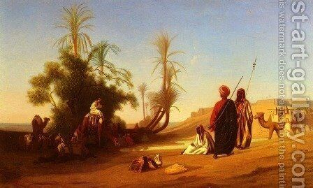 Halte A L'Oasis (Rest at the Oasis) by Charles Théodore Frère - Reproduction Oil Painting