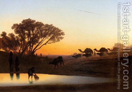 Sunset On The Nile by Charles Théodore Frère - Reproduction Oil Painting
