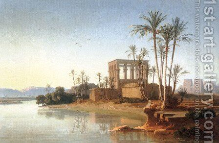 The Ruins at Philae, Egypt by Johann Jakob Frey - Reproduction Oil Painting