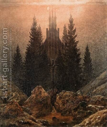 The Cross on the Mountain, Kunstmuseum at Dusseldorf by Caspar David Friedrich - Reproduction Oil Painting