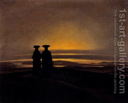 Sunset (Brothers) by Caspar David Friedrich - Reproduction Oil Painting