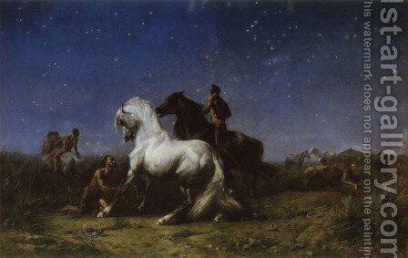 Voleurs De Nuit (Night Robbers) (or Sahara Algerien) by Eugene Fromentin - Reproduction Oil Painting