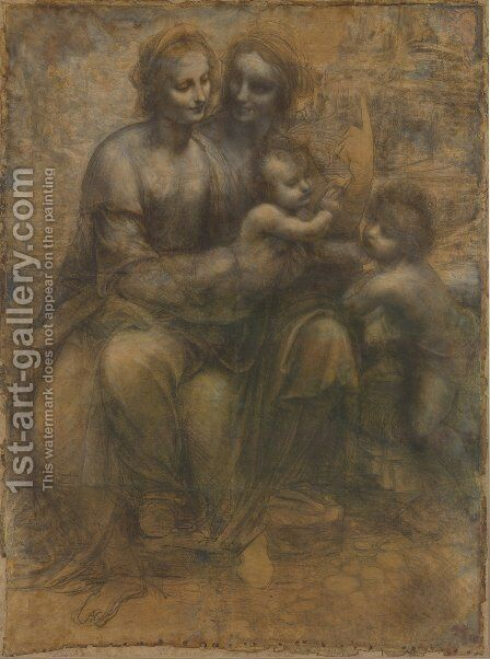 Madonna and Child with St Anne and the Young St John by Leonardo Da Vinci - Reproduction Oil Painting