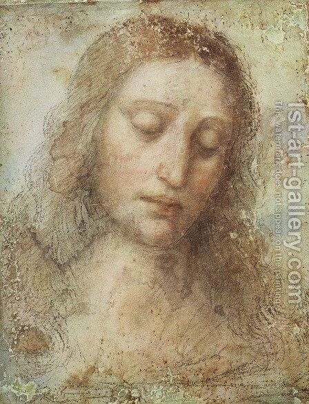 Head of Christ by Leonardo Da Vinci - Reproduction Oil Painting