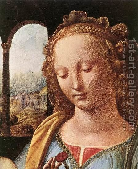 The Madonna of the Carnation [detail: 1] by Leonardo Da Vinci - Reproduction Oil Painting