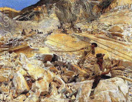 Bringing Down Marble from the Quarries in Carrara by Sargent - Reproduction Oil Painting