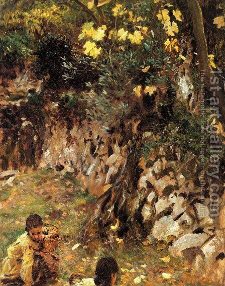 Girls Gathering Blossoms, Valdemosa, Majorca by Sargent - Reproduction Oil Painting