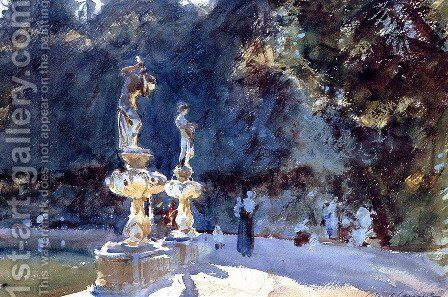 Florence: Fountain, Boboli Gardens by Sargent - Reproduction Oil Painting