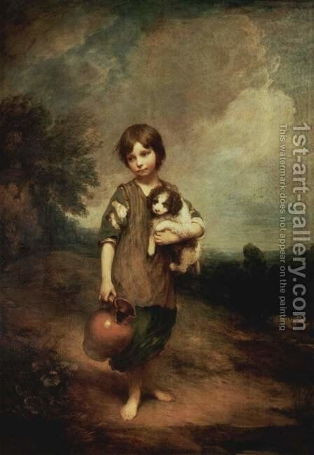 Cottage Girl with Dog and Pitcher by Thomas Gainsborough - Reproduction Oil Painting