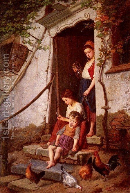 The Farmer's Children by Theodore Gerard - Reproduction Oil Painting