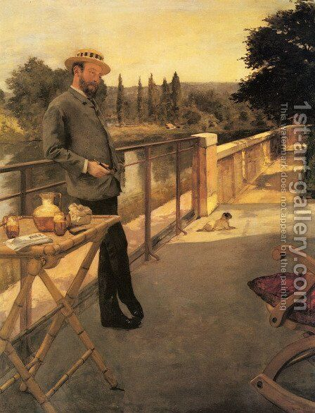 An Elegant Man on a Terrace by Henri Gervex - Reproduction Oil Painting