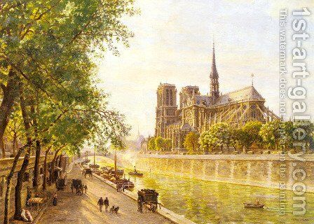 L'lle de la Cite and the Cathedral of Notre Dame, Paris as seem from Quai Montebello by Marie-Francois-Firmin Girard - Reproduction Oil Painting