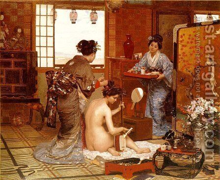The Japanese Toilette by Marie-Francois-Firmin Girard - Reproduction Oil Painting