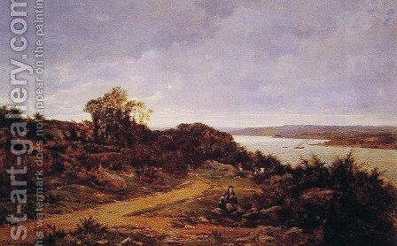 View from Plougastel, Brittany by Auguste Allonge - Reproduction Oil Painting