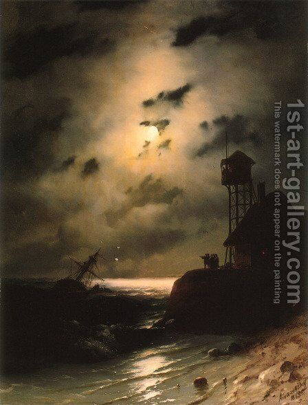 Moonlit Seascape With Shipwreck by Ivan Konstantinovich Aivazovsky - Reproduction Oil Painting