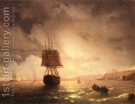 The Harbor At Odessa On The Black Sea by Ivan Konstantinovich Aivazovsky - Reproduction Oil Painting