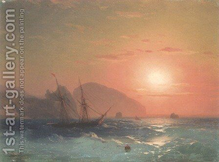 View Of The Ayu Dag, Crimea by Ivan Konstantinovich Aivazovsky - Reproduction Oil Painting