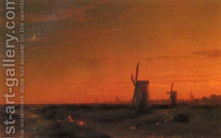 Landscape With Windmills by Ivan Konstantinovich Aivazovsky - Reproduction Oil Painting