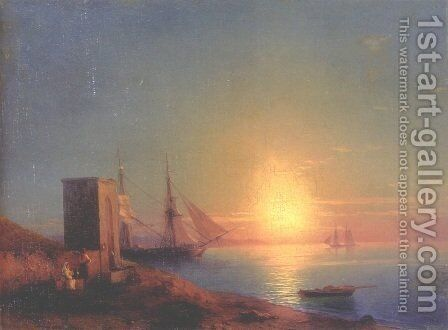 Figures In A Coastal Landscape At Sunset by Ivan Konstantinovich Aivazovsky - Reproduction Oil Painting
