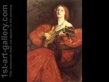 A Lute Player by Edwin Austin Abbey - Reproduction Oil Painting