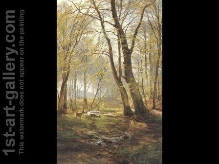 A Woodland Scene With Deer (or A Grassy Knoll) by Carl Frederick Aagaard - Reproduction Oil Painting