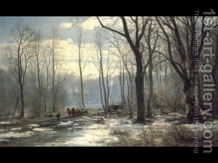 Holzfaller im Englischen Garten in Munchen by Anders Anderson-Lundby - Reproduction Oil Painting