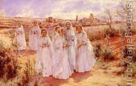 Returning From Confirmation by Alfred Glendening - Reproduction Oil Painting