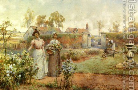 A Lady And Her Maid Picking Chrysanthemums by Alfred Glendening - Reproduction Oil Painting