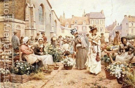 Flower Market in a French Town by Alfred Glendening - Reproduction Oil Painting