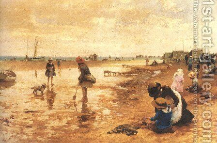 A day at the seaside by Alfred Glendening - Reproduction Oil Painting