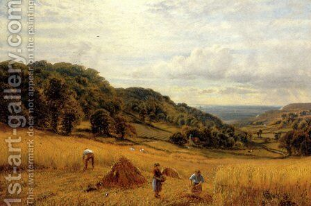 Harvesting At Luccombe, Isle Of Wight by Alfred Glendening - Reproduction Oil Painting