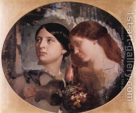 Two Women with a Bouquet of Flowers by Charles-Gabriel Gleyre - Reproduction Oil Painting