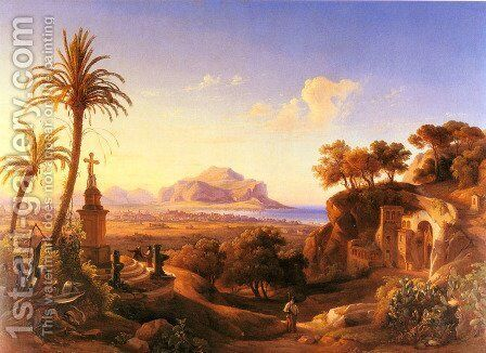 Figures before a Shrine with a view of Palermo beyond by Johann George Gmelin - Reproduction Oil Painting