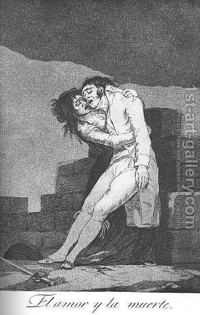 Caprichos - Plate 10: Love and Death by Goya - Reproduction Oil Painting