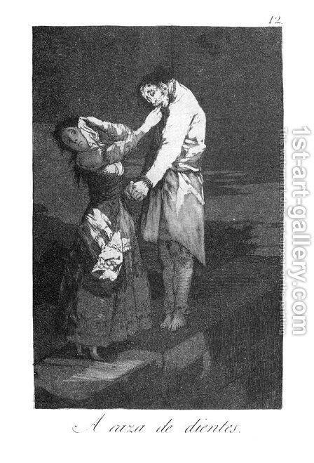 Caprichos - Plate 12: Out Hunting for Teeth by Goya - Reproduction Oil Painting