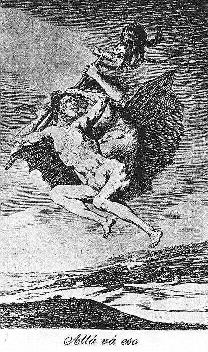 Caprichos - Plate 66: Up They Go by Goya - Reproduction Oil Painting