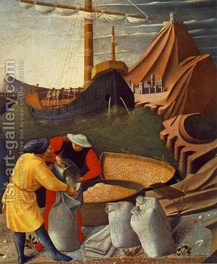 Story of St Nicholas: St Nicholas saves the ship by Angelico Fra - Reproduction Oil Painting