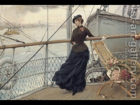 The Departure from New York Harbor by Henry Bacon - Reproduction Oil Painting
