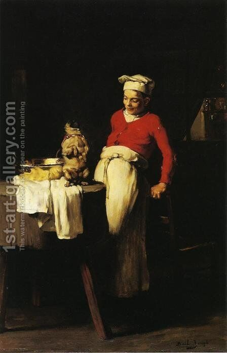 The Cook and the Pug by Claude Joseph Bail - Reproduction Oil Painting