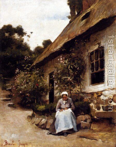 Woman Sewing In Front Of Her Cottage by Claude Joseph Bail - Reproduction Oil Painting