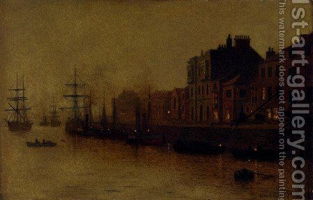 A fishing harbour by Arthur E. Grimshaw - Reproduction Oil Painting