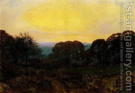 Twilight, The Vegetable Garden by John Atkinson Grimshaw - Reproduction Oil Painting