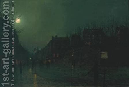 View of Heath Street by Night by John Atkinson Grimshaw - Reproduction Oil Painting