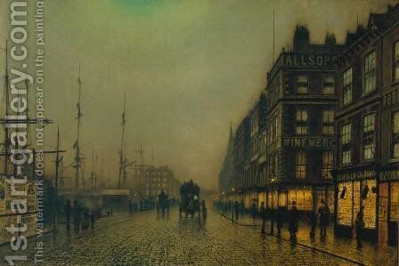 Liverpool Quay by Moonlight by John Atkinson Grimshaw - Reproduction Oil Painting
